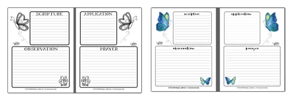 SOAP Bible study journal printable pdf