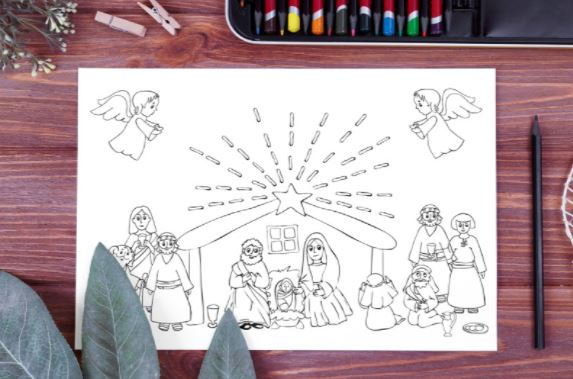Nativity christmas coloring pages printable